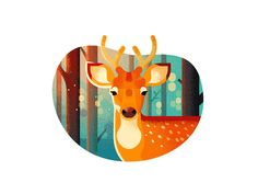 This is a selection of Dribbble shots posted through summer Illustrations reflect process of exploring textures and colors, using larger shapes to make a dynamic compositions, perfecting water drawing skills.This summer wouldn't be so productive w… Hirsch Illustration, Deer Illustration, Graphic Design Illustration, Illustrations, Deer Design, Animal Design, Hirsch Design, Summer Shots, Fanart