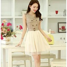 Mini vestido del estilo ocasional delgada coreana de malla de la Mujer – USD $ 29.39