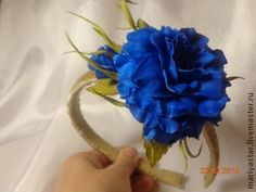 Ободок из Фом эва. - ободок с синей розой,ободок с розой,ободок с цветком