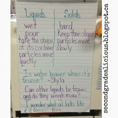Liquids and solids inquiry, co-constructing an anchor chart. #science