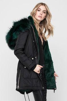 Chelsea Fur-Lined Parka Fox Fur Coat, Parka Coat, Rihanna Style, Bootie Sandals, Black Espadrilles, Chelsea, Winter Sweaters, Sweater Jacket, Devon