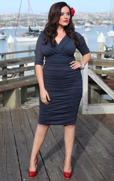 d622dc9f377 Art Navy w  white polka dots Betsy ruched dress plus-size