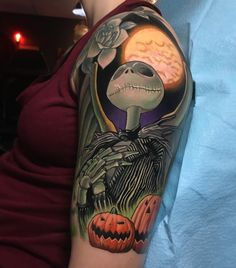 44 Amazing Disney Tattoos - This Jack Skellington Tattoo is a perfect Halloween tattoo to wear on your arm. This is a great tattoo idea for Nightmare Before Christmas. an amazing arm disney tattoo. Wolf Tattoos, Finger Tattoos, Body Art Tattoos, Tatoos, Cat Tattoos, Jack Skellington, Jack Tattoo, Trendy Tattoos, Tattoos For Guys