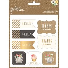 Spring Fling Gold Foil Accent Stickers 44 Pieces
