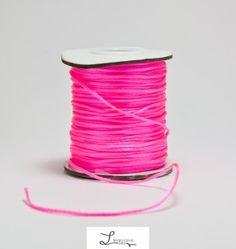 lacet nylon Satiné rose fluo  : Fils, cordons pour bijoux par l-electron-libre sur ALittleMercerie