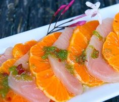 Yellowtail Sashimi with Jalapeno is a delightful fresh appetizer that bursts with delicious sweet and spicy flavors. Presented with Mandarin oranges, it's a stunning dish that will definitely wow your guests. Sushi Recipes, Seafood Recipes, Asian Recipes, Cooking Recipes, Ethnic Recipes, Citrus Recipes, Asian Foods, Yummy Recipes, Healthy Recipes