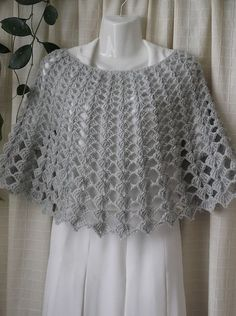 Crochet Ivory colour Shrug, Mohair Women's Shawl - Wrap - Poncho - Shrug, size I knit to order. This Shawl - Wrap - Poncho measurements: Length - about 35 cm / 14 inches. Crochet Cape Pattern, Crochet Cardigan Pattern, Easy Crochet Patterns, Crochet Shawl, Crochet Lace, Crochet Wedding, Thread Crochet, Crochet Fashion, Crochet Clothes
