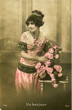Original French vintage hand tinted real photo postcard - Lady with pink roses - Victorian Paper Ephemera