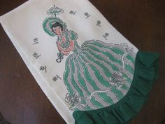 Linen Towel Retro Southern Bell With Green by MyLittleSomethings, $15.00