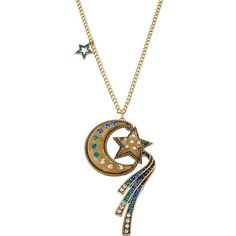 Betsey Johnson Moon And Star Necklace ($75) ❤ liked on Polyvore