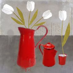 Red and white still life, by Sarah Jarrett