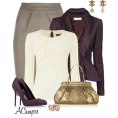 """Office Attire"" by anna-campos on Polyvore gray skirt white blouse top purple eggplant blazer cardigan"