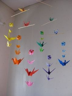 Hand made origami and Japanese crafts by makikomo on Etsy Origami Arco Iris, Rainbow Origami, Origami Envelope, Origami Paper, Origami Birds, Kids Origami, Oragami, Mobiles For Kids, Mobile Kids