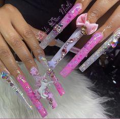 Acrylic Nails Coffin Pink, Long Square Acrylic Nails, Dope Nail Designs, Cute Acrylic Nail Designs, Drip Nails, Glow Nails, Acylic Nails, Glamour Nails, Exotic Nails