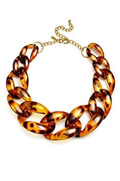 Chain Necklace Tortoiseshell Chunky Resin Chain Jewelry Costume Tortoise Shell Graduated Links 16 by Kenneth Jay Lane -- Awesome products selected by Anna Churchill
