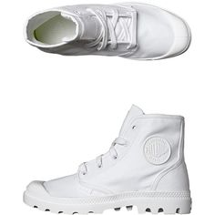 Palladium Pampa Hi Boot ($79) ❤ liked on Polyvore featuring shoes, boots, white white, white shoes, palladium footwear, white boots, palladium shoes and palladium boots