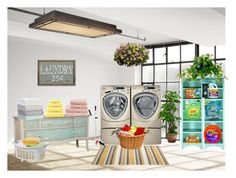 """""""laundry room"""" by tambra-cantrell ❤ liked on Polyvore featuring interior, interiors, interior design, home, home decor, interior decorating, Tide, DwellStudio, Christy and Vaxcel Lighting"""