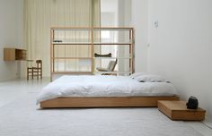 Marina Bautier Oak Beds - Oak bed double Specifications: Solid oak with clear matt lacquer and solid poplar bed slats. Double L 206 x W 146 x H 17 cm King-size L 206 x W 166 x H 17 cm Oak bed available in single, double and king sizes. Oak Bedroom Furniture, Furniture Design, Furniture Decor, Oak Bed Frame, Bed Frames, Oak Beds, Minimal Bedroom, Japanese Interior Design, Minimalist Room