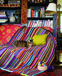 Striped Hand-Knit Scrap Yarn Afghan from Crafting a Colorful Home by Kristin Nic. Striped Hand-Knit Scrap Yarn Afghan from Crafting a Colorful Home by Kristin Nicholas. Knitted Throw Patterns, Knitted Afghans, Knitted Blankets, Scarf Patterns, Baby Blankets, Knitting Yarn, Hand Knitting, Finger Knitting, Yarn Projects