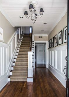 Seagrass runner and beautiful wainscot molding