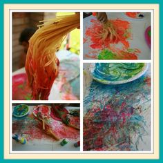 Paint with spaghetti brushes - never thought to do it this way! Boil only half the strand so they can be bundled as the handle!