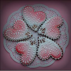 Decorative pink and white cookies