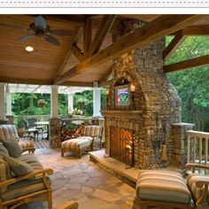 My next back patio, love how the roof extends past the fireplace