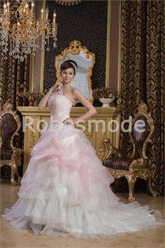 Robe de mariée sans bretelles ornée de fleurs et de perles en satin et organza 004