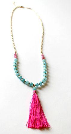 Boho Tassel Necklace - Hot pink