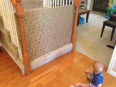 DIY Bottom of Stairs plywood baby gate