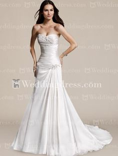inexpensive wedding dresses. One piece, strapless, A-line, sweetheart neckline. Corset. crystal embellished but nice