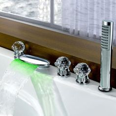 Contemporary Color Changing LED Glass Handles Tub Waterfall Tap with Hand Shower T6016  http://www.uktaps.co.uk/bathtub-taps-c-21.html