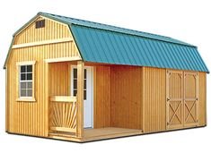 Our Side Porch Package features a Side Porch with railings, a 9 lite House Style Window Door, two Windows, and a single or double Barn Door.