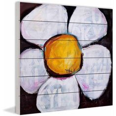 Marmont Hill Lucky Daisy by Tori Campisi Painting Print on White Wood, Size: 40 inch x 40 inch, Multicolor