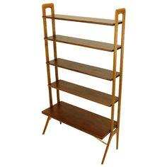 1stdibs | Danish Modern Teak & Oak Shelf / Room Divider by Kurt Ostervig