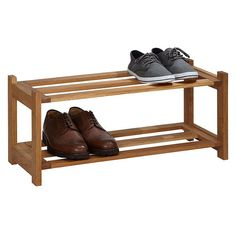 BuyJohn Lewis Oak Wood Shoe Rack, 2 Tier Online at johnlewis.com