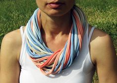 FABRIC NECKLACE/SCARF, infinity scarf, t-shirt scarf, loop necklace, spring necklace