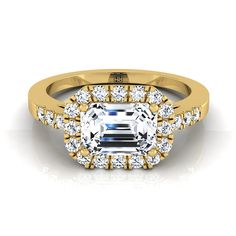 Emerald Cut Diamond Halo Engagement Ring East West With Diamond Pave Shank In 14k Yellow Gold (1/3 Ct.tw.)