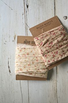 Fabric Ribbon. Olive Manna
