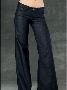 What To Look For: Pear-shaped girls with curvier hips should steer clear of anything super-tapered and go for a low-rise flare or trouser style. This creates overall balance, which helps keep your hips looking slim and streamlined.    Hudson Gwen Wide Leg in Oldmill, $165, hudsonjeans.com