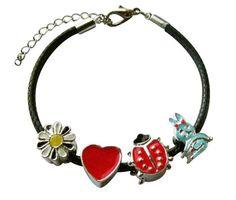Children's Bracelets:  Black Woven Leather Bracelets with European Children's Beads $22.78