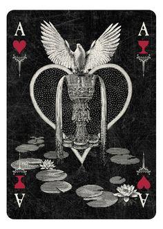 ARCANA Playing Cards by Chris Ovdiyenko - Kickstarter. Ace of Hearts/Cups - dark version. GET YOUR DECKS/PRINTS ON KICKSTARTER NOW!