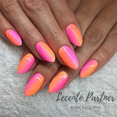 Neon Ombre Nails using Lecente™ Neon Powders and CND Shellac