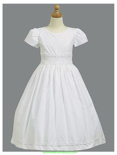 White Cotton Dress with Smocked Waistband Holy Communion Dress