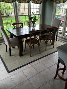 James+James 6 Foot Farmhouse Table with traditional top, stained in Kona with a Satin Sheen.