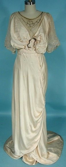 c. 1913 Trained Ecru Ivory Silk Edwardian Gown with Beaded Netting
