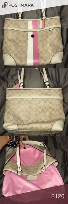 Coach Tote Preowned Preowned Coach Tote/Handbag in excellent condition, it is used but outside is very clean and the inside has some pen ink marks but not so bad. This coach bag was my 1st favorites before I Upgraded to my luxurious branded favorites but I always take care of them all like my babies. Pls ask questions and I will get to u asap! I bought this for $298+ Coach Bags Totes