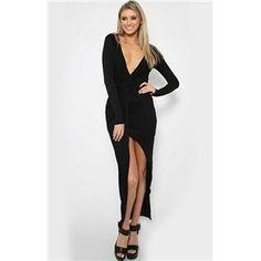 Black Deep V Neck Long Sleeve High Low Dress | berlinmo
