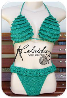 Celeida Artes em Fios: Biquíni de crochê com babadinhos!