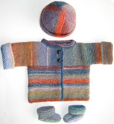 Sideways Knit cardigan,hat & booties by Lion Brand ~ 90738AD Fresh Melon Sideways Cardigan : Lion Brand Yarn Company